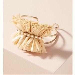 ⚡️Anthropologie straw pearl gold bangle bracelet
